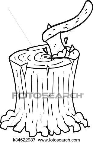 Black And White Cartoon Axe In Tree Stump Clip Art K34622987 Fotosearch Download 85,810 cartoon tree free vectors. fotosearch
