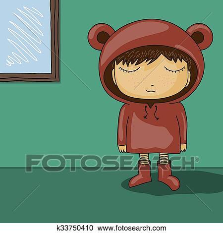 Carino cartone animato capretto con orso orecchio cappuccio