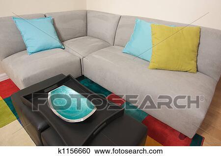 Grigio, pelle scamosciata, divano, angolo, zona Archivio Immagini