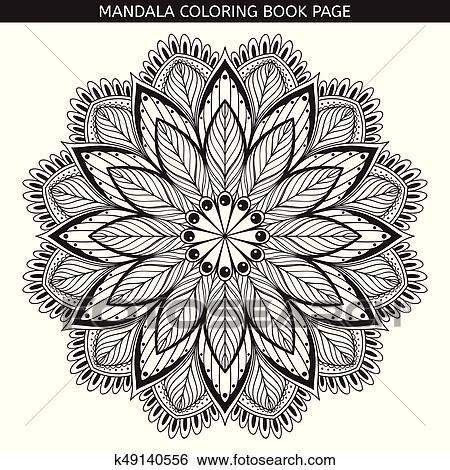 Mandala. Coloring book pages. Indian antistress medallion ...