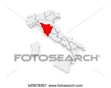 Map of Tuscany. Italy. Stock Illustration | k20678367 ...