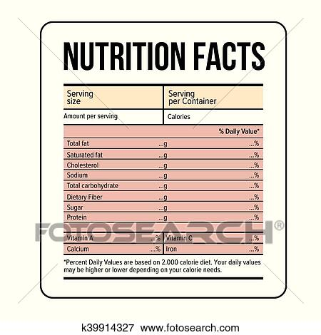 Clip Art Of Nutrition Facts Label Template Vector K39914327