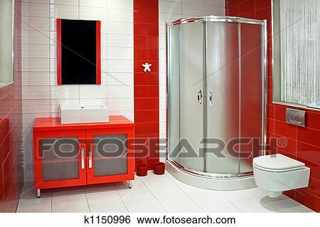 Stock Bilder Rot Badezimmer K1150996 Suche Stockfotografie