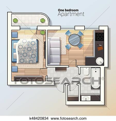 Clipart Of Vector Top View Illustration Of Modern One Bedroom