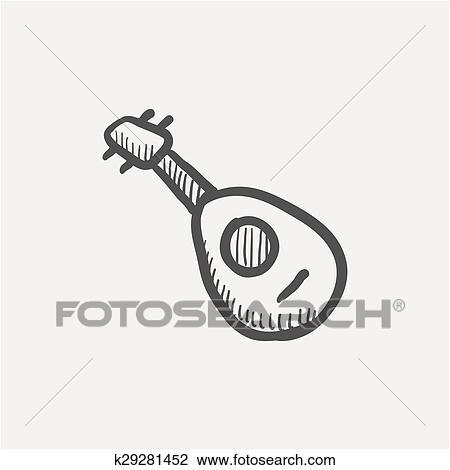 マンドリン ギター スケッチ アイコン クリップアート切り張り