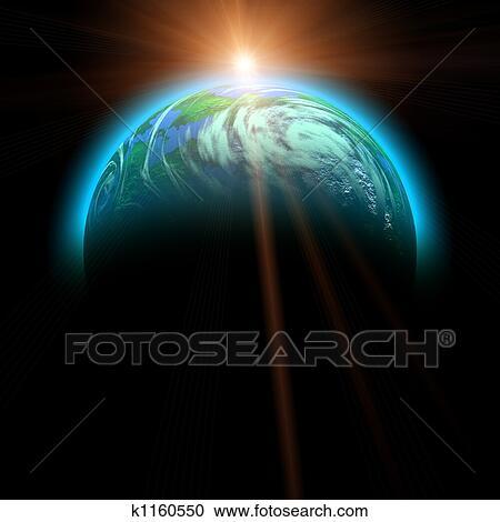 上昇の 太陽, そして, 惑星, イラスト クリップアート(切り張り)イラスト「絵画」集
