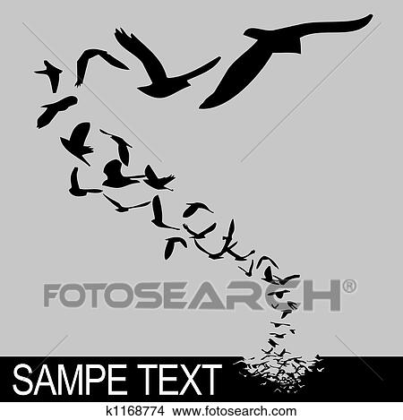 Drawings Of Birds Flying K1168774 Search Clip Art Illustrations