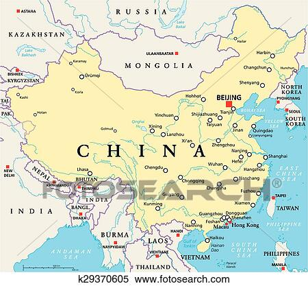 Map Of China Cities In English.Clipart Of China Political Map K29370605 Search Clip Art