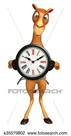 Clip Art Of Cute Camel Cartoon Character With Clock K35579802