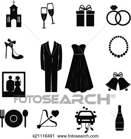 Ensemble de noir silhouette mariage ic nes clipart k21116491 fotosearch - Dessin voiture mariage ...
