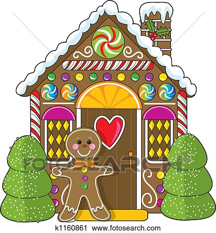 A Cute Little Decorated Gingerbread House With Man Standing At The Doorway Candies And Gumdrops Are Part Of Decorations