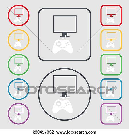 Clipart Of Joystick And Monitor Sign Icon Video Game Symbol