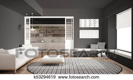 Minimalist, wohnzimmer, mit, sofa, groß, runder, teppich, und, kueche, in,  dass, hintergrund, grau, modernes, inneneinrichtung Stock Illustration