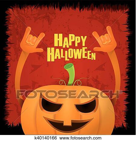 Clip art of pumpkin rock n roll style halloween greeting card clip art pumpkin rock n roll style halloween greeting card fotosearch search clipart m4hsunfo
