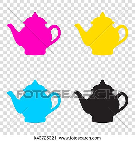 e58473867b04 Tea maker sign. CMYK icons on transparent background. Cyan
