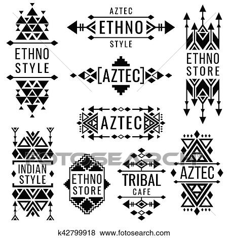 529168fd99c1a Clip Art - Tribal old mexican vector ornaments, indian nativity traditional  logo. Fotosearch -