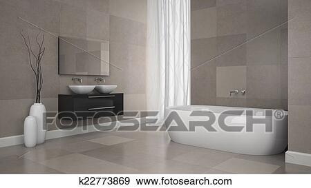 Badkamer Tegels Muur : Stock illustraties binnenste van hippe badkamer met graniet