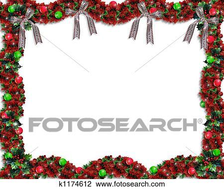 Clip Art Of Christmas Garland Border K1174612
