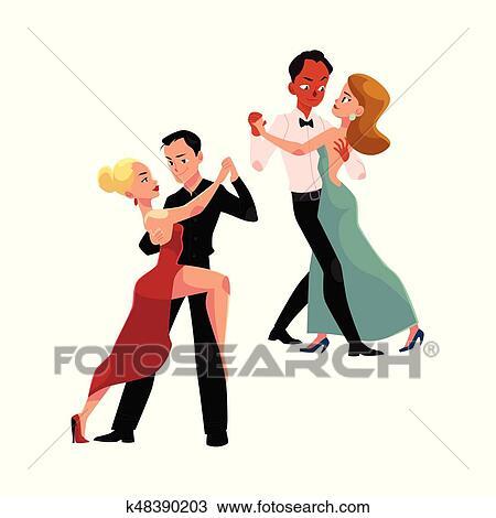 Couples de professionnel danseurs salle bal danse - Musique danse de salon gratuite ...