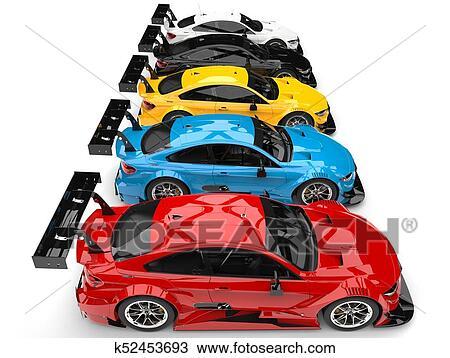 Fila De Coloridos Modernos Super Corra Carros Topo Baixo Vista Lateral Desenho