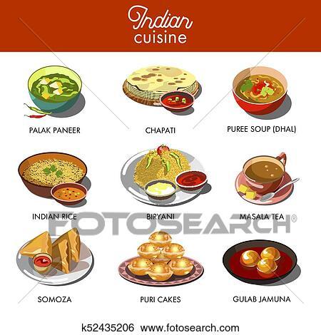 Clip Art Indische Kuche Essen Traditionelle Dishes K52435206