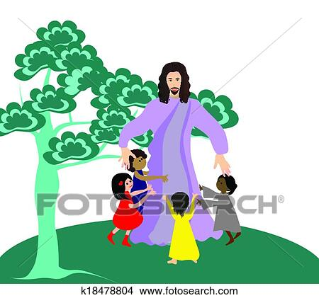clipart of jesus loves the little children k18478804 search clip rh fotosearch com