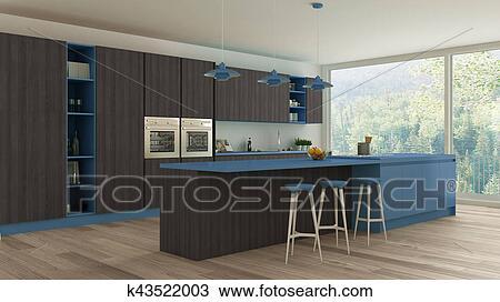 Disegno minimalistic cucina con legno blu dettagli
