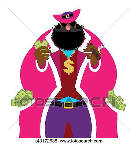 Clip Art Of Pimp And Money Pocket Full Of Cash Bright Clothing And
