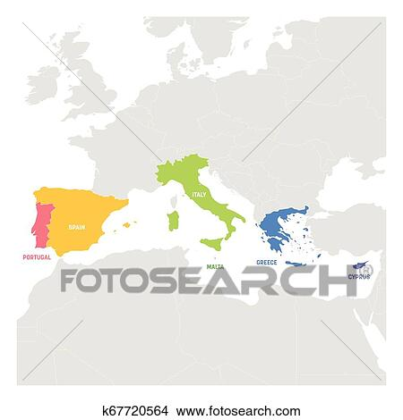 South Europe Region. Colorful map of countries in southern Europe around  Mediterranean Sea. Vector illustration Clipart