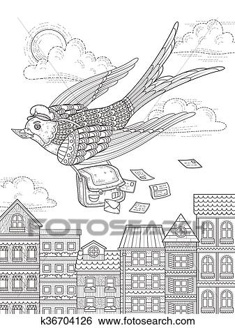 Clip Art Of Swallow Adult Coloring Page K36704126