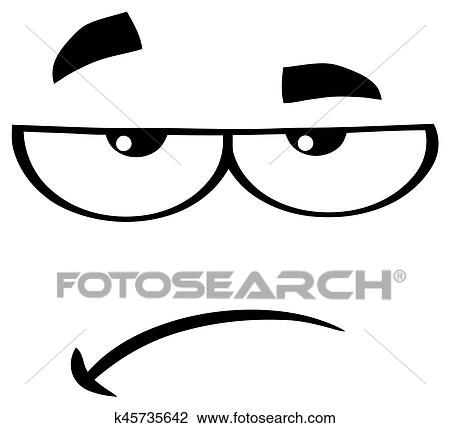 clipart of black and white grumpy cartoon funny face with sadness rh fotosearch com Shopping Black And White Clipart Funny Face Clip Art