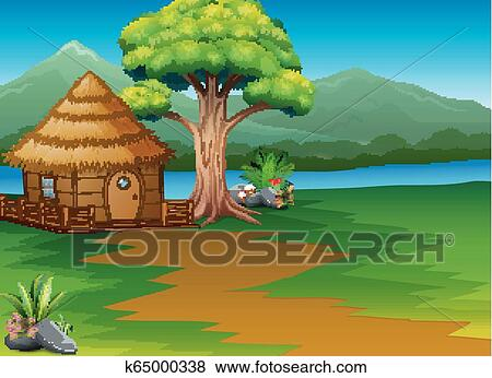 Cartoon Woods Cabin By The River With Mountains Landscape Background Clip Art K65000338 Fotosearch