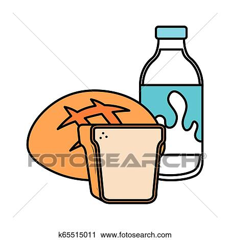 Delicious Milk Bottle With Bread Clipart K65515011 Fotosearch