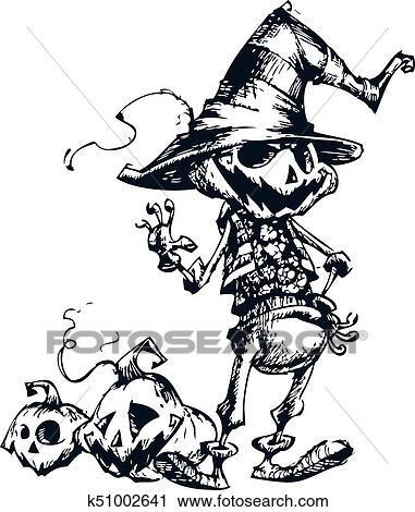 Halloween Scary Jack O Lantern Pumpkin Head Scarecrow Vector