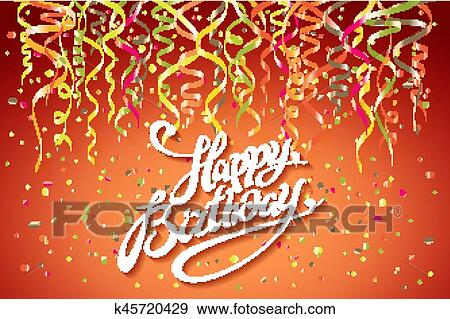 Happy Birthday Card Template Confetti Holiday Background