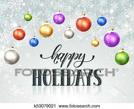 Clipart of happy holidays greeting card k53079021 - Search Clip Art ...