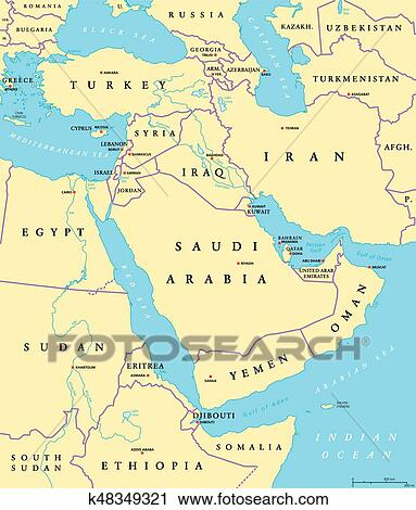 Middle East political map Clipart | k48349321 | Fotosearch