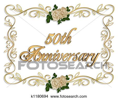 Rozen 50th Jubileum Stock Illustraties