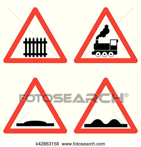 Traffic signs vector set on white background, railway level crossing ahead,  speed hump, rough road symbols in red triangle  Vector Clip Art