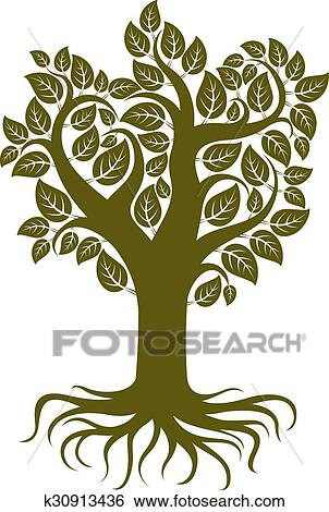 clip art of vector art illustration of branchy tree with strong
