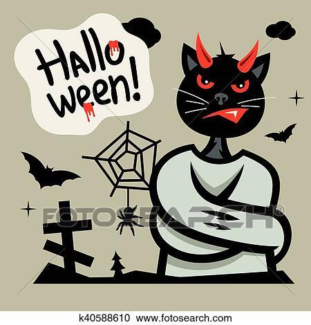 Vettore halloween diavolo gatto in camicia forza cartone