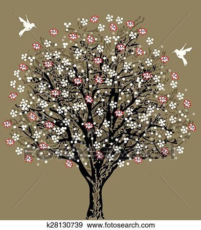 Vintage Wedding Invitation Card With Elegant Retro Floral Tree Design Clip Art K28130739 Fotosearch