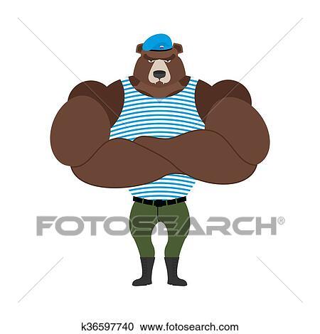 ロシア人 兵士 熊 中に 青 Beret 空輸 空輸 Paratroopers