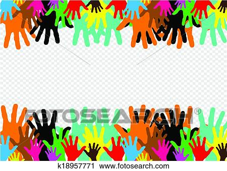 Fundo Coloridos Silueta Maos Desenho Clipart K18957771