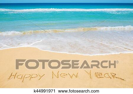 Happy New Year Message On The Beach Stock Image K44991971 Fotosearch