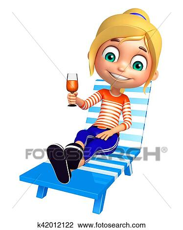 Kid Girl With Beach Chair And Juice Glass Drawing K42012122 Fotosearch
