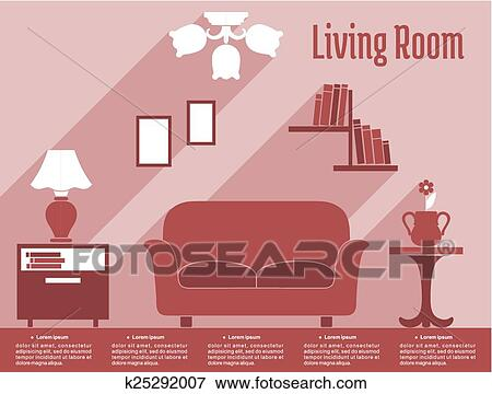 Clip Art of Living room interior flat infographic with text layout ...
