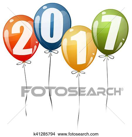 clipart new year 2017 balloons fotosearch search clip art illustration murals