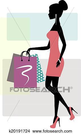 5ba39b15facd Silhouette, di, uno, moda, shopping, donna Clipart | k20191724 ...