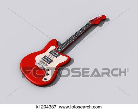 3d モデル の 赤 ギター イラスト K1204387 Fotosearch
